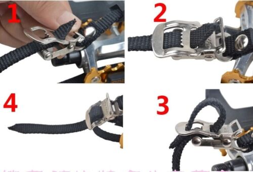 2Pcs Mountain Cycling Road Bike Bicycle Toe Clips With Straps Black Helpful
