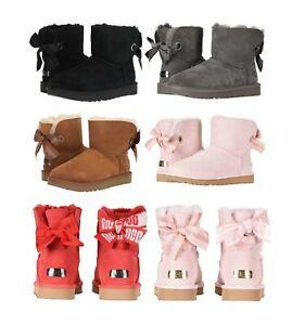 UGG-Donna-Personalizzabile-Bailey-Bow-MINI-Stivali-Neri-Chestnut-Rosa-Rosso-Char