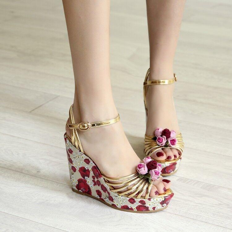 Ankle Strap Womens BoHo Sandals Floral Peep Toe Platform High Wedge Heels shoes