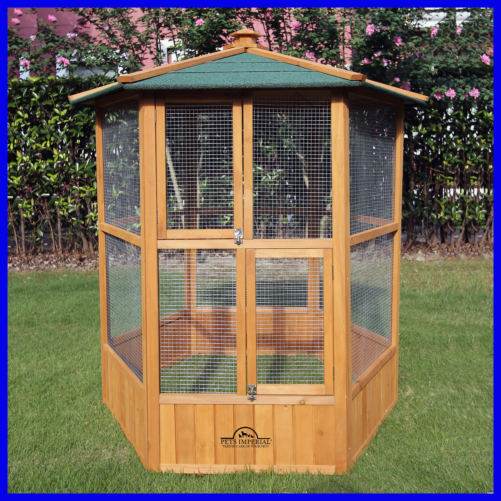 Pets Imperial® Large Wooden Hexagonal Bird Aviary Cage Birds Parred Canary