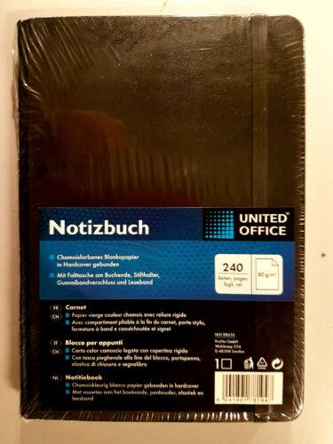 Notizbuch A5 Kladde Memobuch Tagebuch Schwarz 240 Seite Hardcover gebunden
