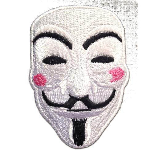 Aufnäher // Bügelbild V For VENDETTA Anonymous weiß 5.5 x 7.6 cm