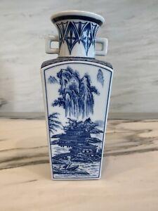 Blue-and-White-Vase-Japanese-Ceramic-Vintage-Chinoiserie-Regency