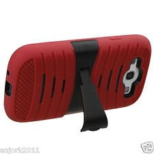 Samsung Galaxy S3 i9300 Hybrid H Armor Hard Case Skin Cover w/Stand Red Black