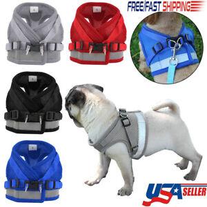 Reflective-Dog-Harness-Leash-Nylon-Pet-Cat-Soft-Mesh-Vest-Small-Medium-Puppy-USA