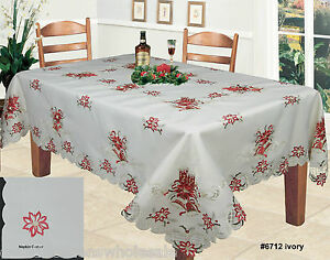 Christmas-Embroidered-Red-Poinsettia-Tablecloth-amp-Napkins-Holiday-Ivory-6712