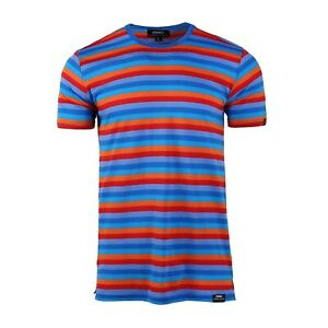 Men/'s Retro Mode Short Sleeve Ribbed Crew Neck Color Blocked Logo Stripe T-shirt