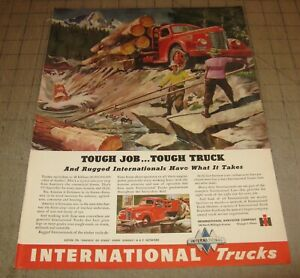 """1946 Red INTERNATIONAL Harvester Logger Truck 10.5 x 14"""" Life Magazine 1-Page Ad"""