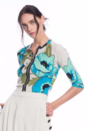 Talla S ¡75 azules de Zip de suéter Reese Tracy Nuevo descuento Cardigan amapolas mujer Cropped 4wXApq
