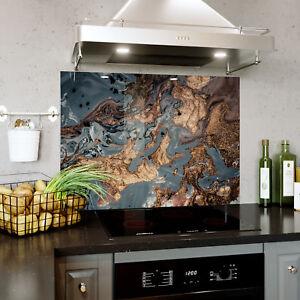 Glass Splashback Kitchen Tile Cooker Panel Any Size Mixed Liquids Marble 0410 Ebay