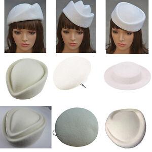 White Wool Air Hostesses Pillbox Hat Millinery Making Material Fascinator Base