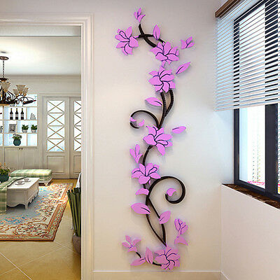3D Flower Home&Room Decor DIY Wall Sticker Removable Acrylic Decal Mural