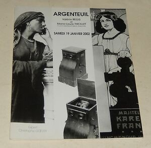 CATALOGUE de VENTES ARGENTEUIL 2002 : PHOTOGRAPHIE - PRE-CINEMA AFFICHES STEREO