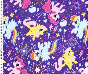1-88Yds-Long-My-Little-Pony-Cutie-Power-Toss-Purple-Fleece-Fabric-FREE-SHIP