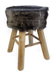 Design Fell Hocker Grau Massiv Holz Sitzhocker