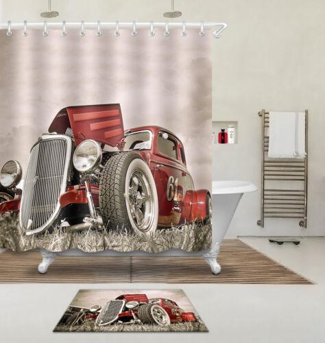 "60//72//79/"" Waterproof Fabric Shower Curtain/&Mat/&Hook-Cool Vintage Car 61 3557"