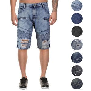 LR-Scoop-Men-039-s-Moto-Quilted-Distressed-Painted-Skinny-Slim-Fit-Jean-Denim-Shorts