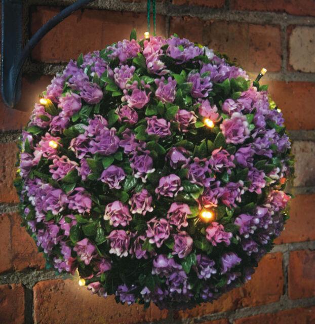 PURPLE 20 LED TOPIARY BALL SOLAR POWERED - FLOWER ROSE GARDEN HANGING LIGHT 28CM