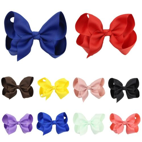 4 inch Big Bows Boutique Hair Clip Pin Alligator Clips Grosgrain Ribbon Bow Girl
