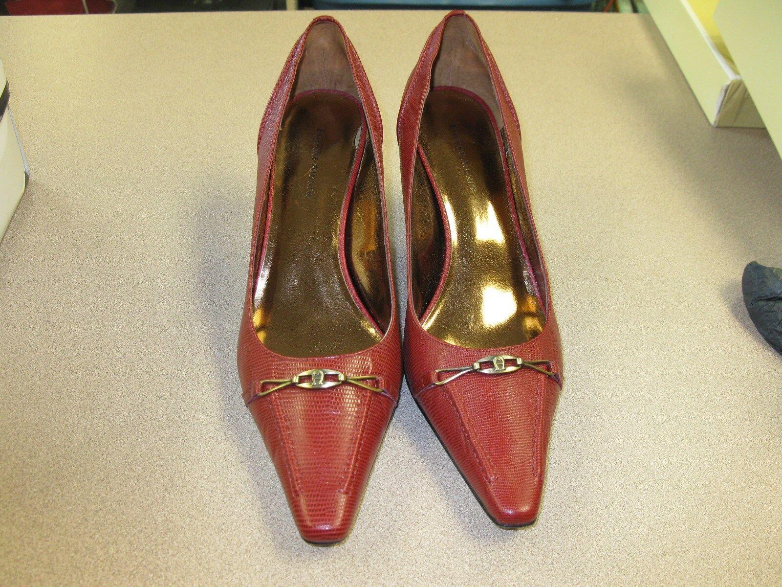 Etienne Aigner Femme Rouge Lézard Bout Pointu Talon Haut Chaussures Taille 10