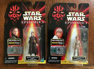 Star-Wars-Ep-1-Anakin-Skywalker-Action-Figure-amp-Queen-Amidala-1998-Lot-of-2