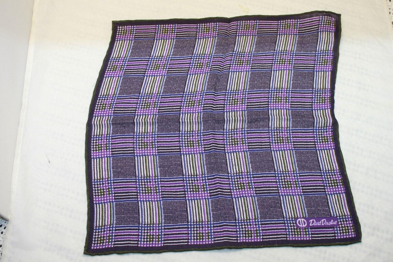 David Donahue men's Purple Geometric Pocket Square MSRP