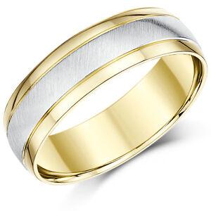 18 Karat Zweifarbig Gold Hochzeit Ring Court Form 6mm Ehering Ebay