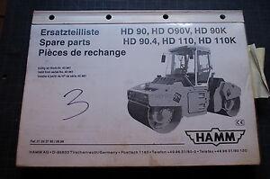 hamm hd 90 o90v 90k 110 k roller compactor parts manual book catalog rh ebay com hamm roller hd12 parts manual Hamm Vibratory Rollers