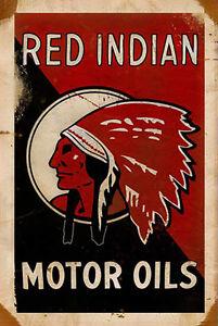 Rojo-Indio-MOTOR-Aceites-039-Letrero-de-metal-Placa-Ideal-Para-Taller-Garaje