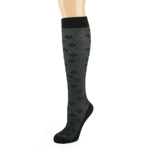 Black And Grey With Subtle Daisy Flower Design Knee High Socks