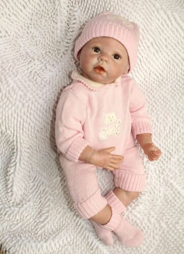 "22/"" Lifelike Vivid Reborn Girl Dolls Silicone Vinyl Handmade Pink Baby Cute"