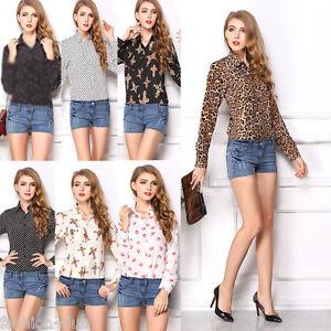 Fashion-Sexy-Ladies-Women-039-s-Chiffon-Long-Sleeve-Floral-Shirt-Tops-Blouse-T-shirt