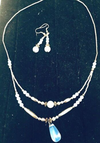 Liquid Silver Vintage Opalite Beaded Necklace and