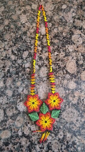 Details about  /HUICHOL MEXICAN HAND MADE JEWELRY BEADED FOLK ART  FLOWER NECKLACE