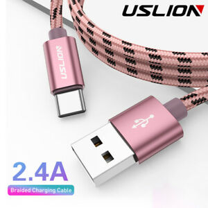 1M-2M-Heavy-Duty-Braided-2-4A-Charging-Cable-Micro-USB-Type-C-Phone-Charger-Cord