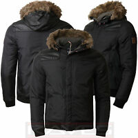 Mens Padded Parka Jacket Threadbare Faux Fur Pu Hood Winter Short Coat