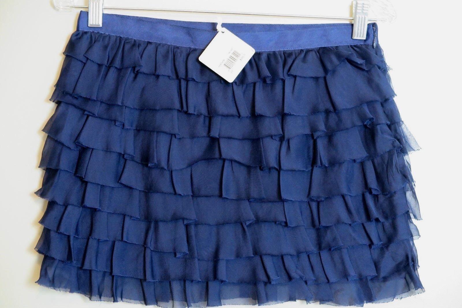 NWT Haute Hippie Twilight bluee 100% Silk Tiered Mini Skirt Size XS MSRP  265