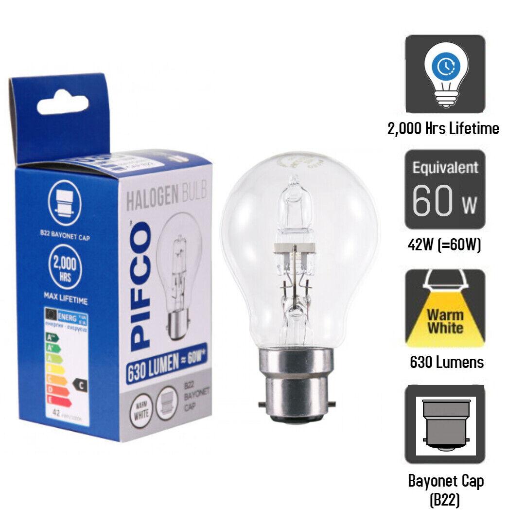 Pifco Halogen Clear GLS Light Bulb BC Bayonet Cap B22 42W = 60W Energy Saver