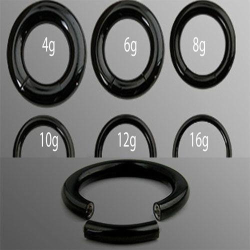 Pair Black Ion 316L Surgical Steel Seamless Segment Circular Captive Ring Hoop