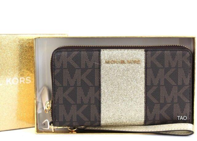 99c0ca1762a855 Michael Kors Center Stripe Lg Flat Phone Case Wristlet Wallet Clutch Brown  New