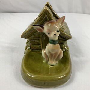 "Vintage Shawnee USA Pottery Planter Chihuahua Dog Green Dog House 7.5"" Length"