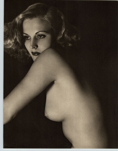 1940 Original FEMALE BEAUTIFUL FACE BREASTS NUDE Woman Body JOHN EVERARD PHOTO