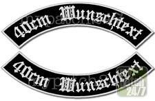 Rückenaufnäher Patch Bogen SET XL 40cm Wunschtext Name MC Biker Rocker Kutte