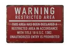 Warning tin metal sign wall accessories for living room US SELLER