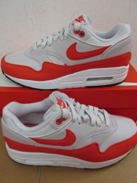 Nike Air Max 1 Womens 319986 035 Vast Grey Habanero Red Running Shoes Size 7