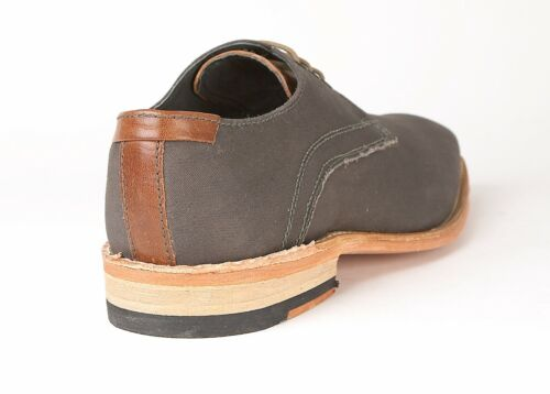 Lambretta Shoes Canvas Grey Brown Stripe S//Addition Leather Sole Goodyear Welted