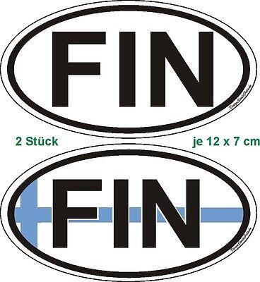 2 Nationalitätenkennzeichen Finnland EU Sticker Bik Helm Caravan Auto Bus Laptop