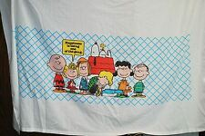 "Vintage Peanuts Twin Flat Bed Sheet ""Happiness Is Being One of the Gang"" Snoopy"