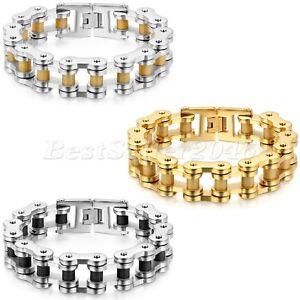 Heavy-Punk-Motorcycle-Biker-18mm-Chain-Stainless-Steel-ROCK-Mens-Bracelet-9-4-034