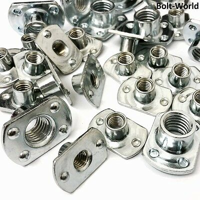 TEE SPOT WELD NUTS ZINC PLATED METRIC 2 & 4 UNDER WELDED PIPS T STYLE SLAB BASE